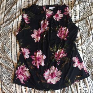Calvin Klein Black Floral Sleeveless Top